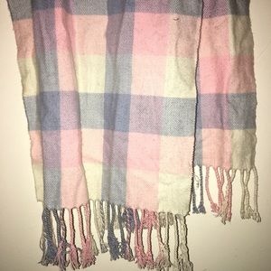 100% Cashmere Scarf in Pink Blue & White